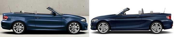 BMW E88 vs F23 - вид сбоку