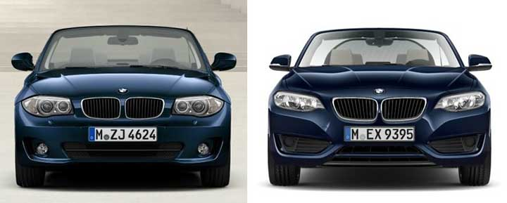 BMW E88 vs F23 - вид спереди