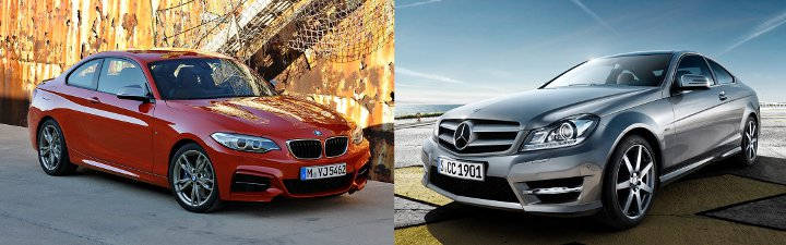 BMW F22 vs Mercedes C-Class Coupe - вид спереди