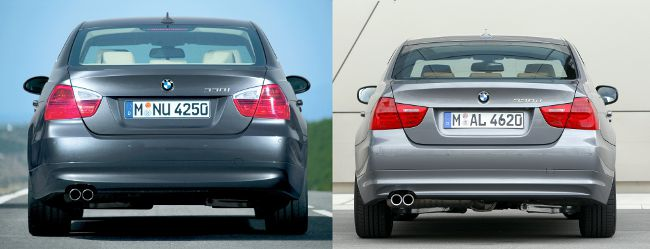 BMW E90 до и после рестайлинга - вид сзади