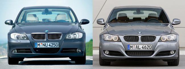BMW E90 до и после рестайлинга - вид спереди