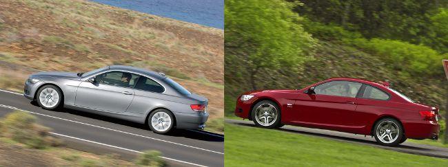 BMW E92 до и после рестайлинга - вид сбоку