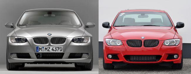 BMW E92 до и после рестайлинга - вид спереди