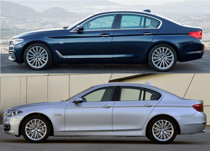 BMW G30 vs F10 - вид сбоку