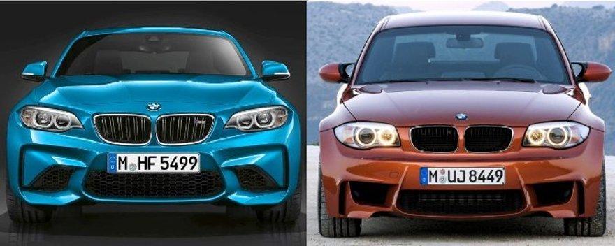 BMW M2 F87 vs 1M E82 - вид спереди