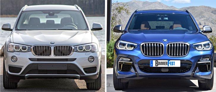 BMW X3 F25 vs BMW X3 G01 - передняя часть