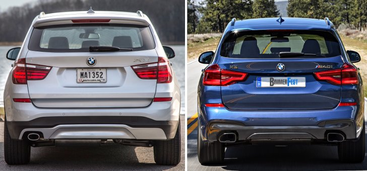 BMW X3 F25 vs BMW X3 G01 - задняя часть