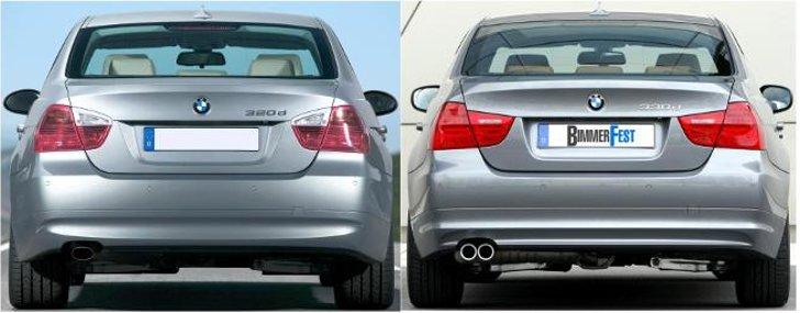 BMW E90 - отличия седана - до и после рестайлинга LCI