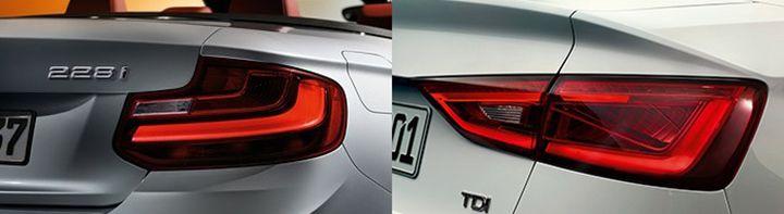 Задняя оптика BMW F23 vs Audi A3