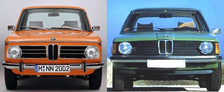 BMW E10 vs E21 - вид спереди