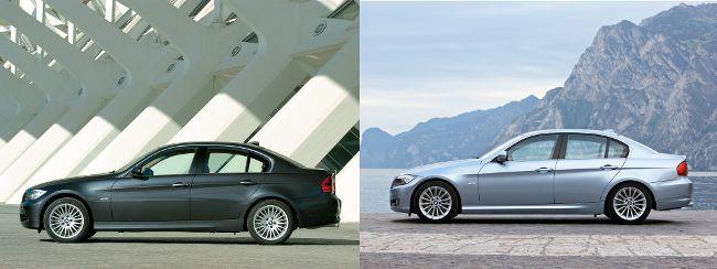 BMW E90 до и после рестайлинга - вид сбоку