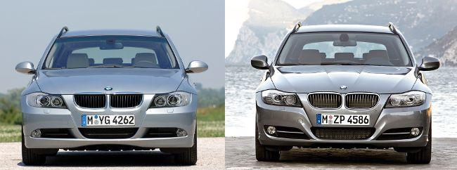 BMW E91 до и после рестайлинга - вид спереди