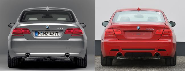 BMW E92 до и после рестайлинга - вид сзади