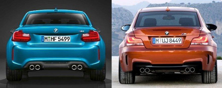 BMW M2 F87 vs 1M E82 - вид сзади
