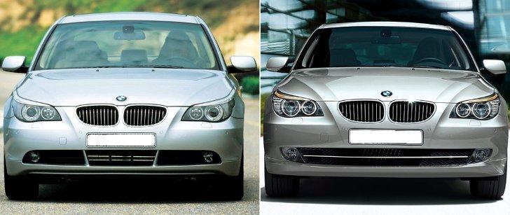 BMW E60 - дорестал vs рестал - вид спереди