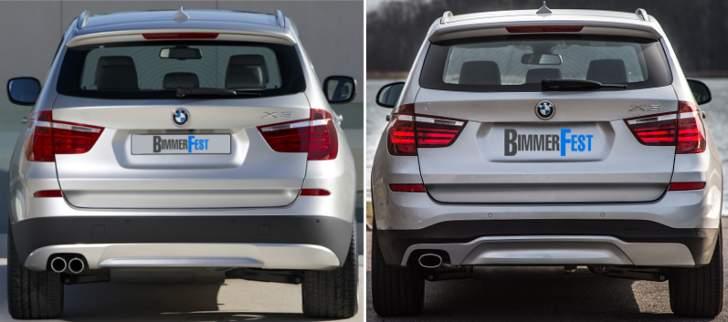 BMW X3 F25 - vs LCI - сзади