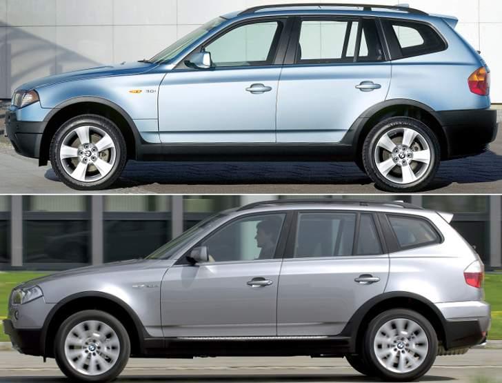 BMW X3 E83 - до и после рестайлинга - сбоку